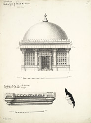 Ahmadabad: Tomb in front of Darwish Ali's mosque (top), moulding under the arch in the entrance of Miyan Khan Chisti's mosque (bottom)